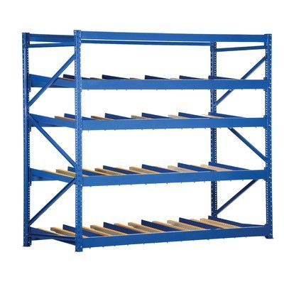 "Vestil Carton Rack with Gravity Roll 5 Flow Levels Size: 84"" H x 96"" W x"