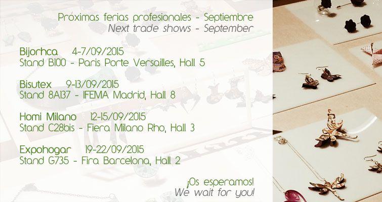CALENDARIO DE SEPTIEMBRE 2015. Ferias profesionales en las que JOYAS DE PAPEL participa.