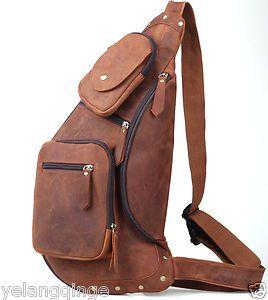 Details about Mens Genuine Leather Sling Pack Shoulder Bag Sport ...