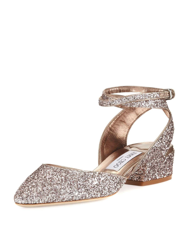 902a0c67a6b7 Vicky Glitter Ankle-Wrap Ballerina Flat