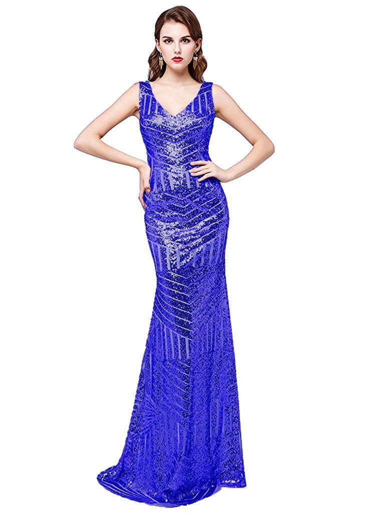 Kelaixiang Sequins Evening Gown Long Mermaid Prom Bridesmaid Dress V ...