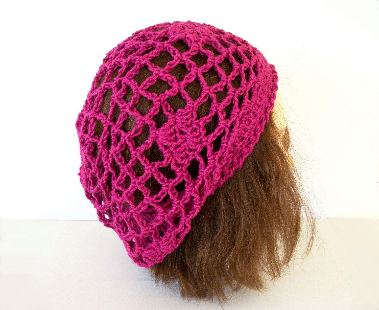 Crocheted Chain Mesh Hat Pdf Crochet Pattern Fishnet Lace Slouch