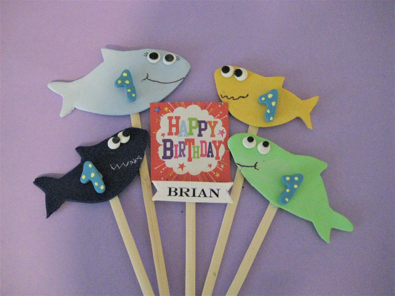 First birthday baby shark birthday cake topper polymer