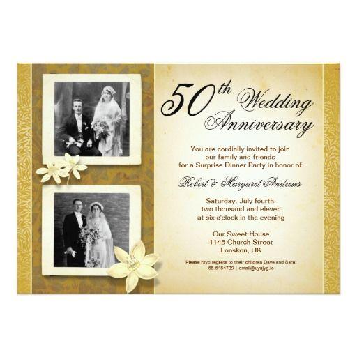 Two Photos Wedding Anniversary Invitations  X  Invitation Card