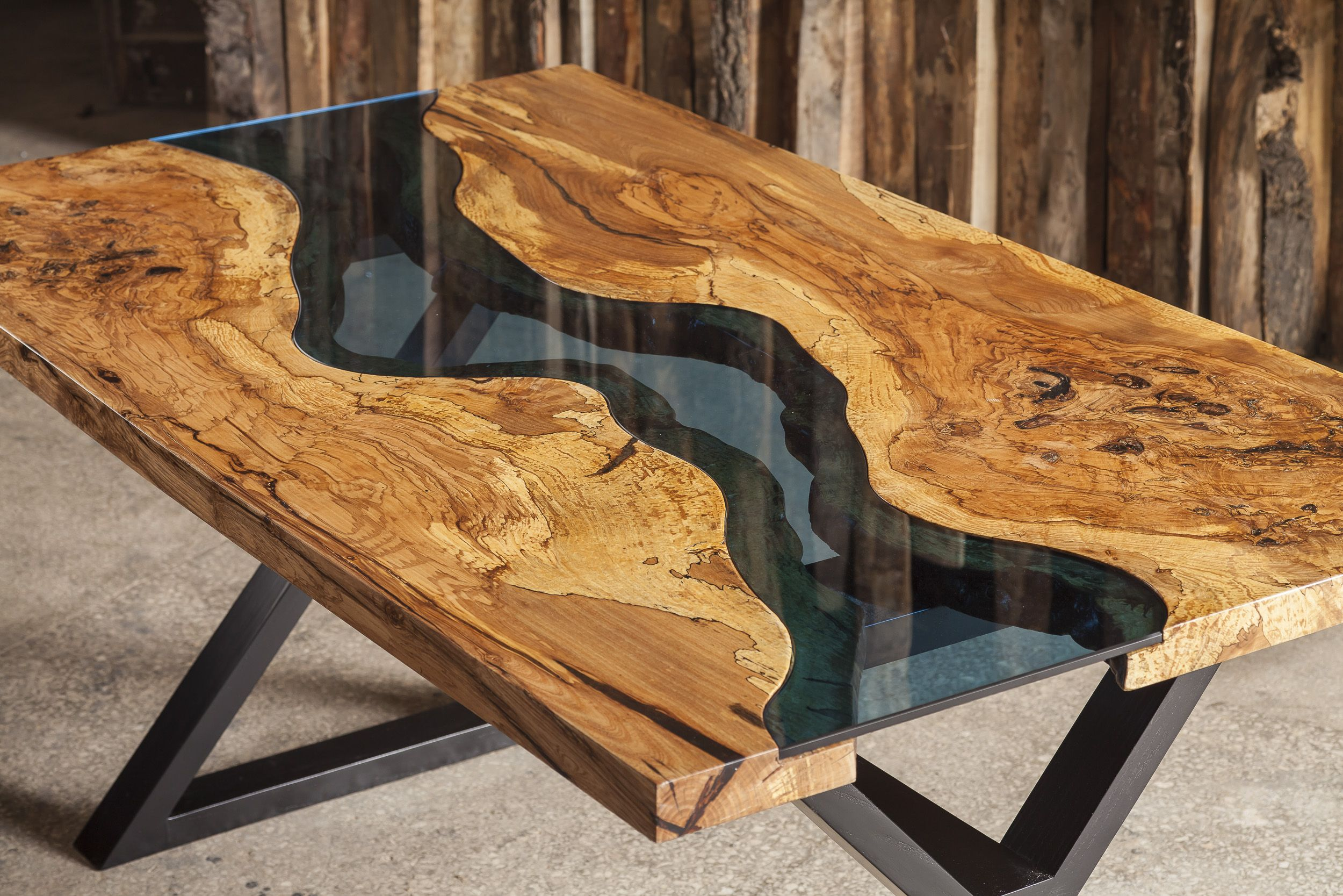 Aqua table made from ash tree and blue glass Available for sale
