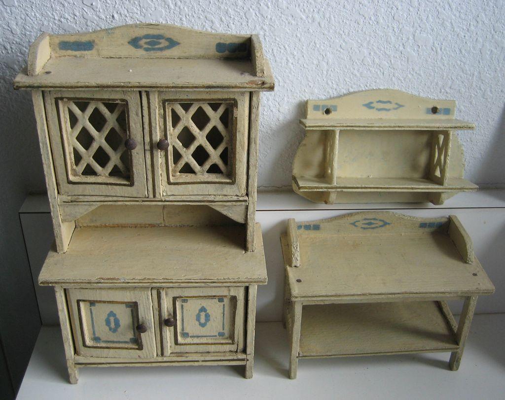 German Kitchen Gottschalk Antique doll house miniature kitchen matching  furniture - Antique German Kitchen Gottschalk Dollhouse Miniature Matching