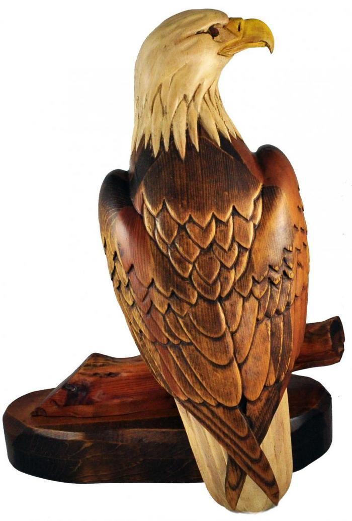 Hersey kyle jr woodcarving wood carved eagle rare large