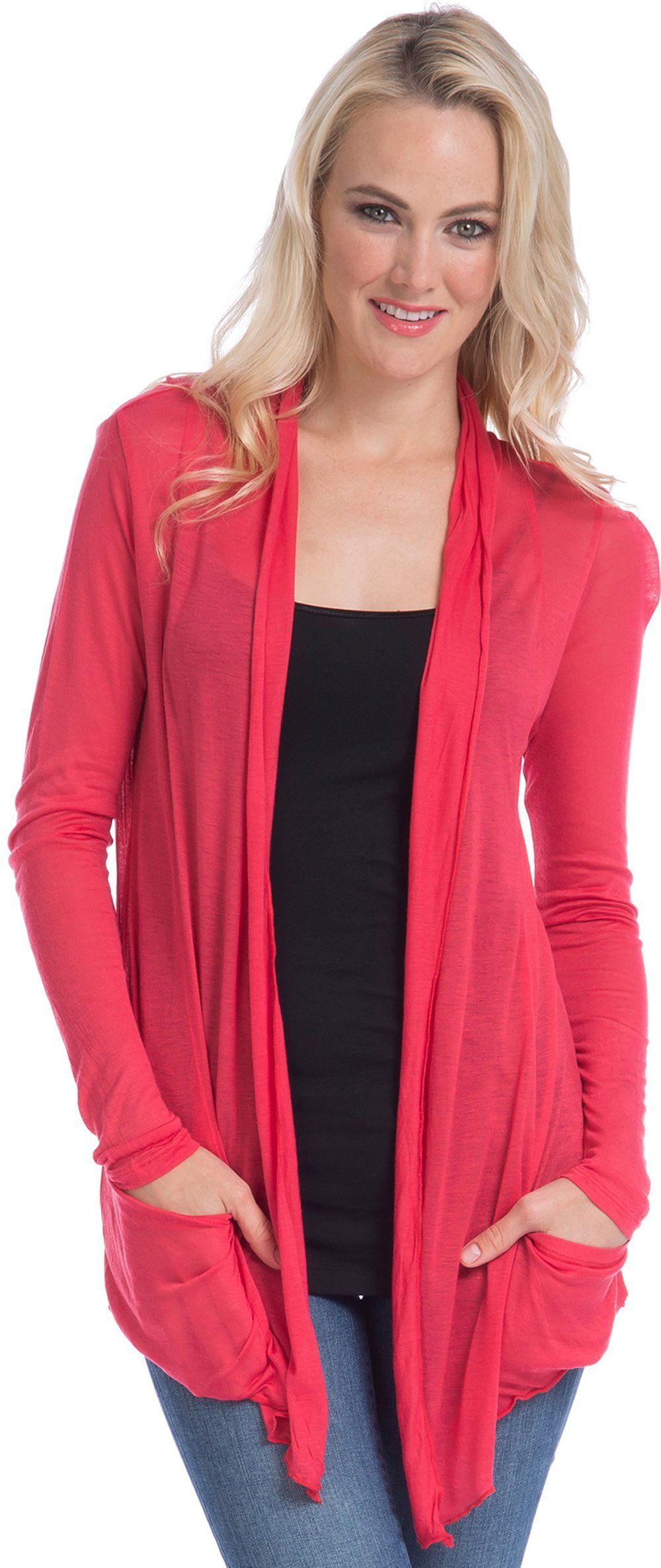 Semi-sheer Cardigan Cover-up with Pockets, 3X, Torch-Red | My ...