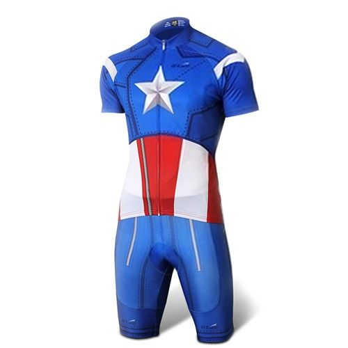 Captain America Blue Costume Cycling Kits Bicycle Suit Short