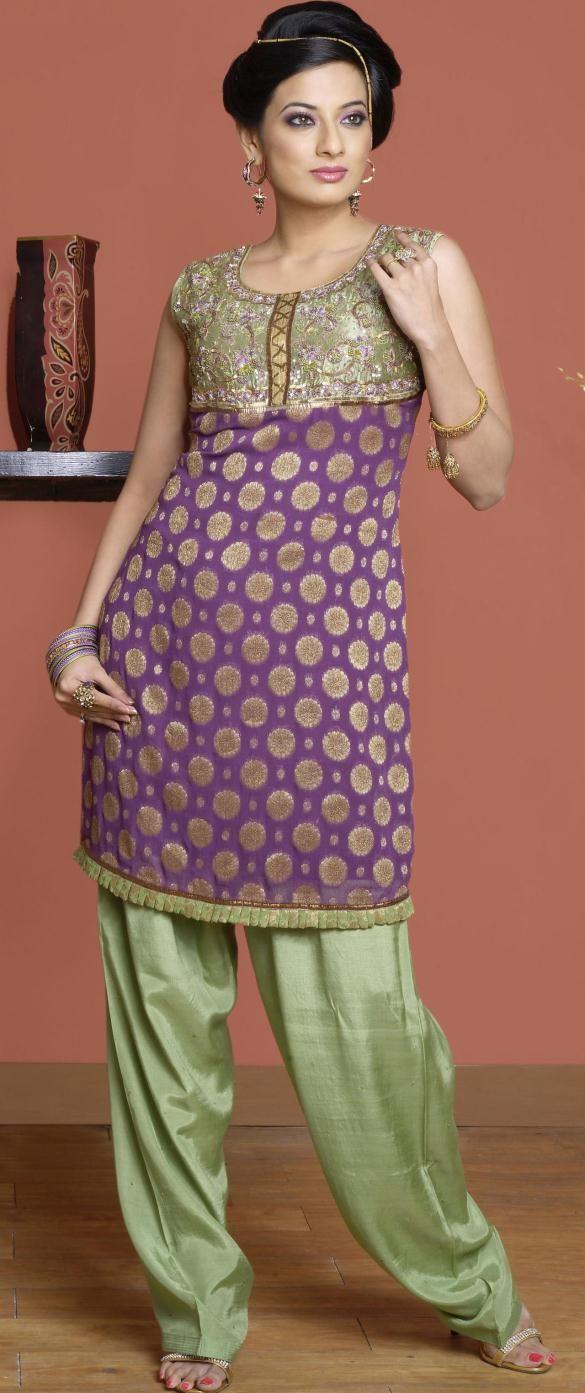 Purple Sleeveless Brocade Punjabi Salwar Kameez 14078