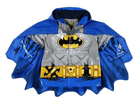 Dc Comics Little Boys Batman Waterproof Outwear Hooded Rain Coat Toddler