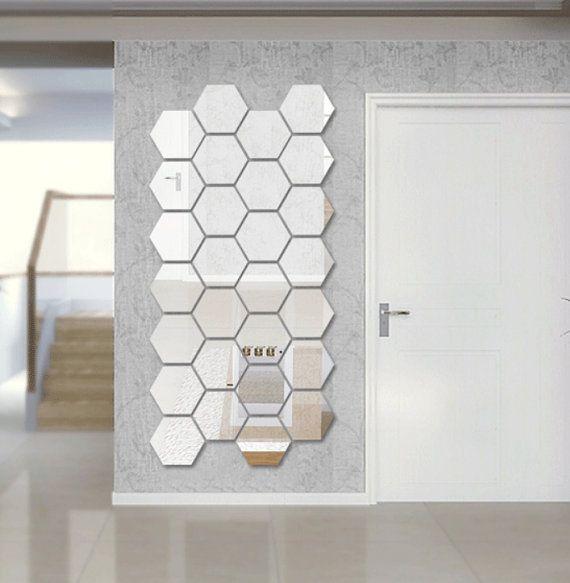 Hexagon Shape Mirror Wall Decal Wall Sticker Acrylic Mirror - Wall decals mirror