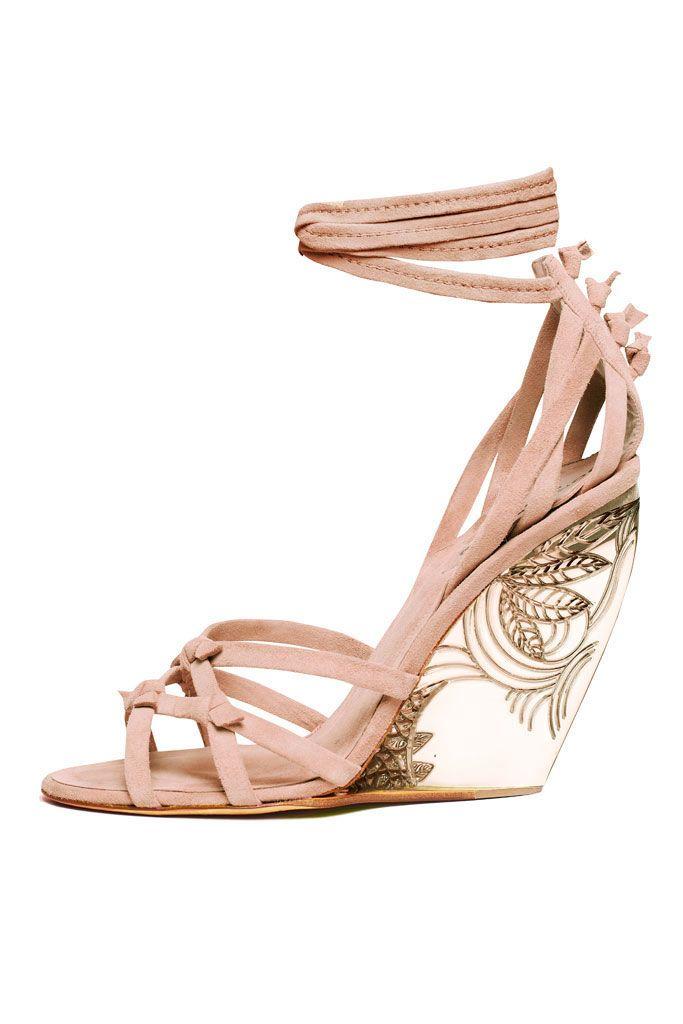 8283cffc9f9 Donna Karan blush suede with lucite wedge heel  3