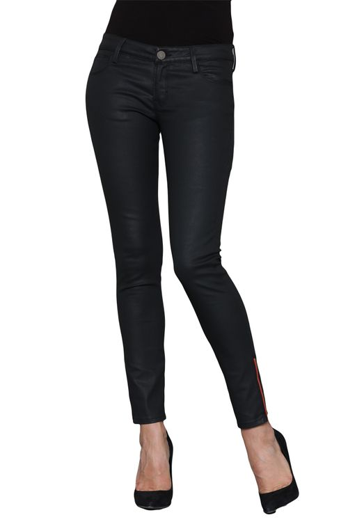 Repeat Possessions had a great selection of stylish skinny jeans for women from Etienne Marcel, including these Coated Black Skinny Jeans with Red Side Zipper.