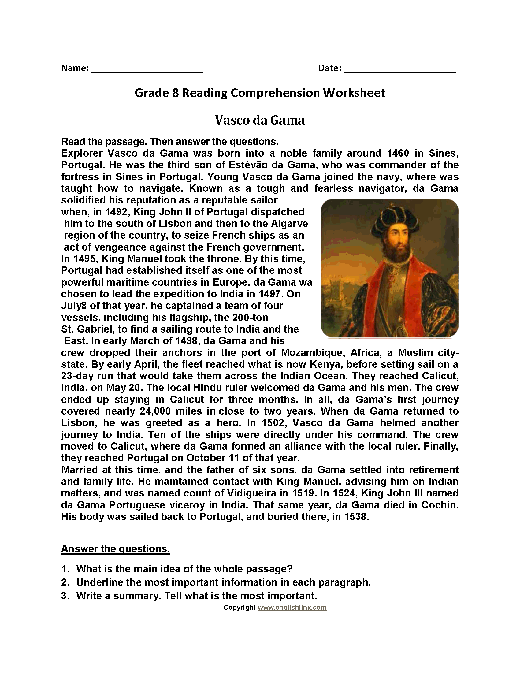 Vasco De Gama Eighth Grade Reading Worksheets