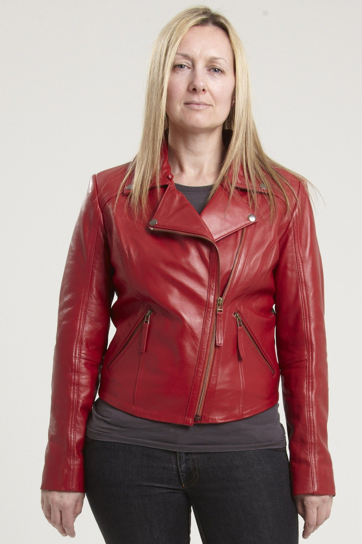 The ERICA womens red leather biker jacket in real leather