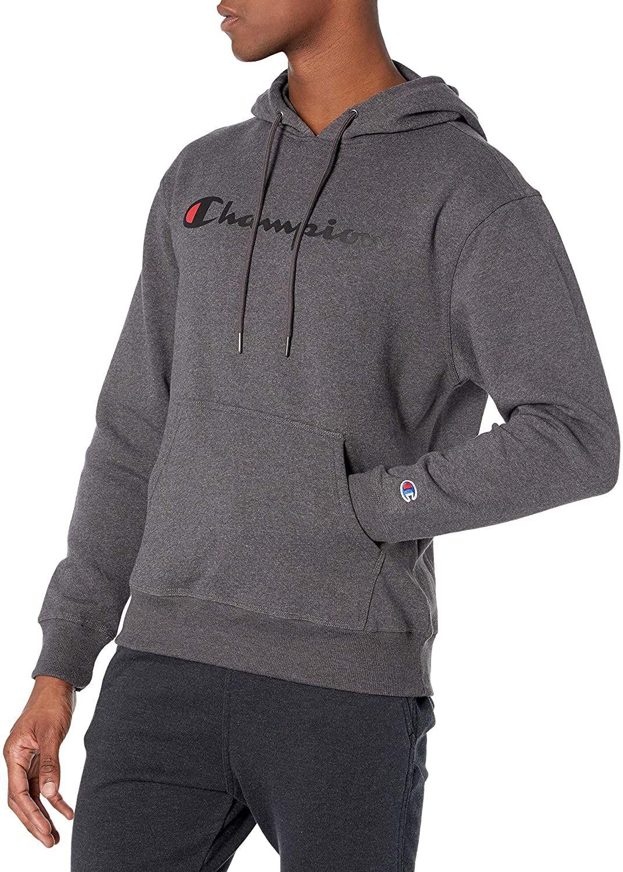 Champion Men S Powerblend Fleece Pullover Hoodie Script Logo In 2021 Winter Jacket Men Sweatshirt Fashion Hoodie Outfit Men [ 1500 x 1071 Pixel ]