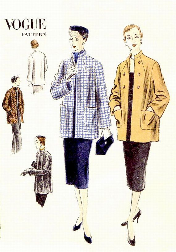50s UNCUT UNPRINTED VOGUE Box Coat Sewing Pattern - 1950 Vogue 7224 ...