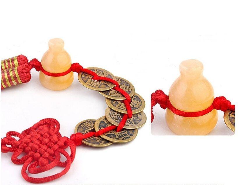 6 Pièces de monnaie Wu Lou en Topaze jaune   ruedufengshui.com