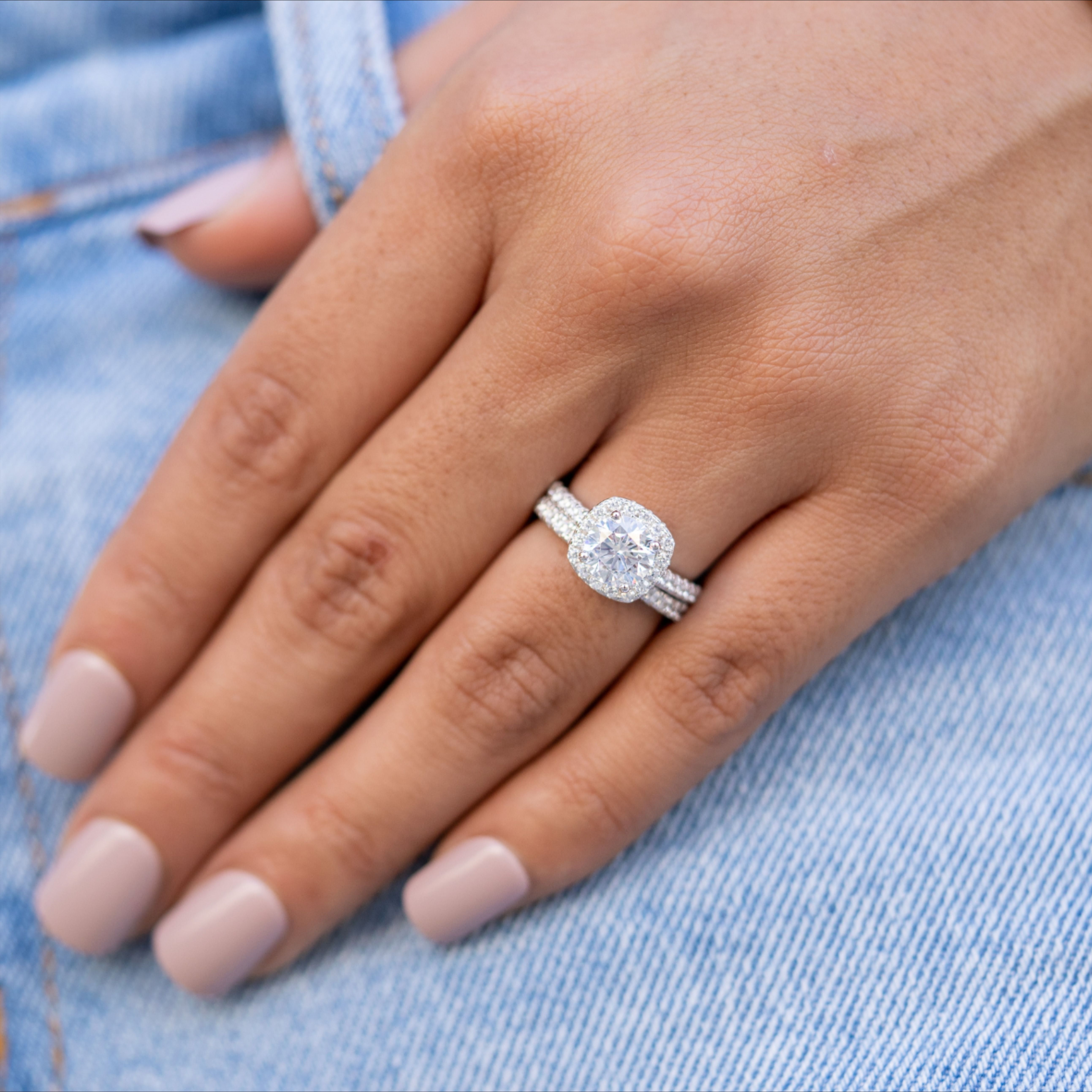 Women S Wedding Bands Stacked With Engagement Ring Unique Engagement Rings Halo Wedding Rings For Women Gents Wedding Rings