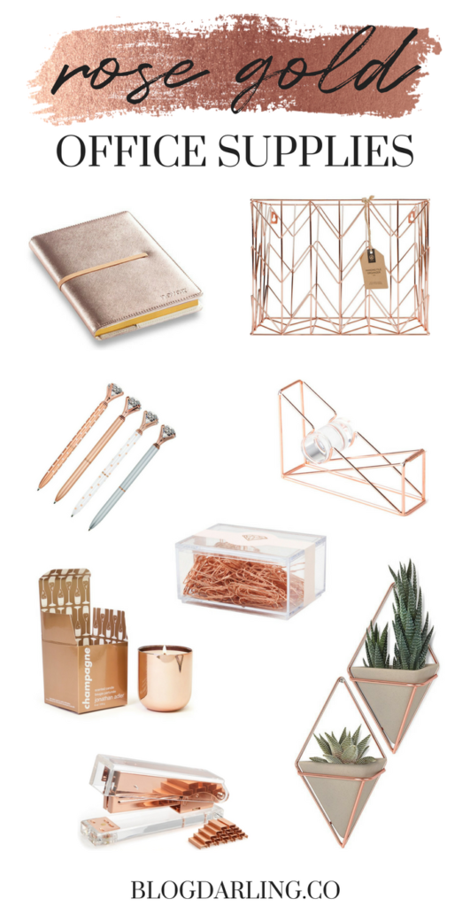 Rose Gold Office Supplies for a Feminine Home Office | Gold office ...