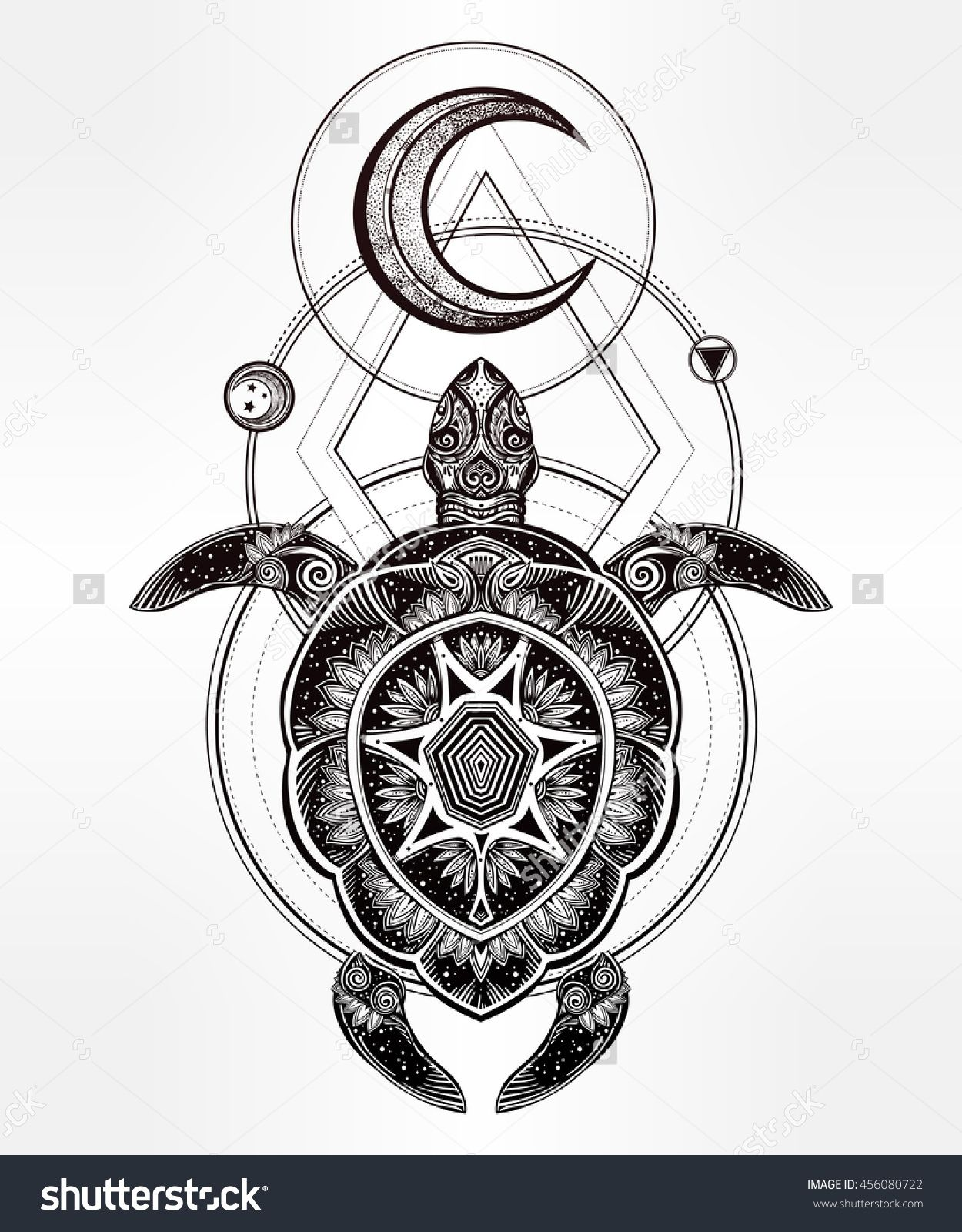 Ornate Turtle In Tattoo Style With Moon Isolated Vector