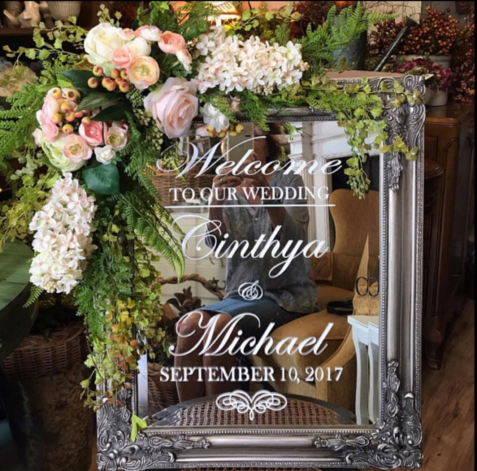 Personalise Wedding Frame Custom Venue Welcome Decor Mirror Sticker Vinyl Decal