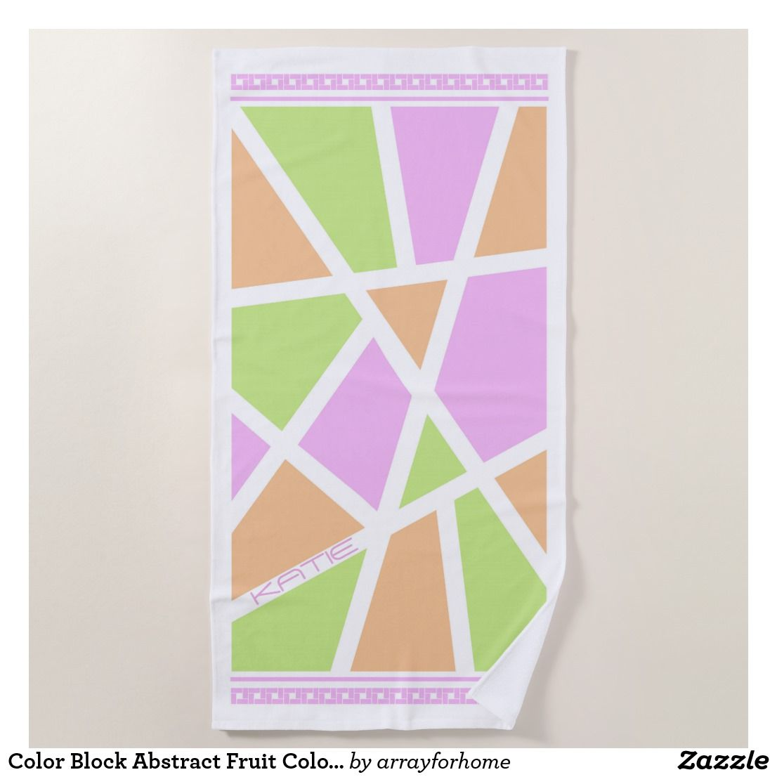 Color Block Abstract Fruit Colors  Beach Towel Summery colors of lime green, fresh orange and pink grapefruit in abstract color block shapes with geometric borders on a white background. Add your name to personalize using the provided template. Search ID410 to see other color options for this design.