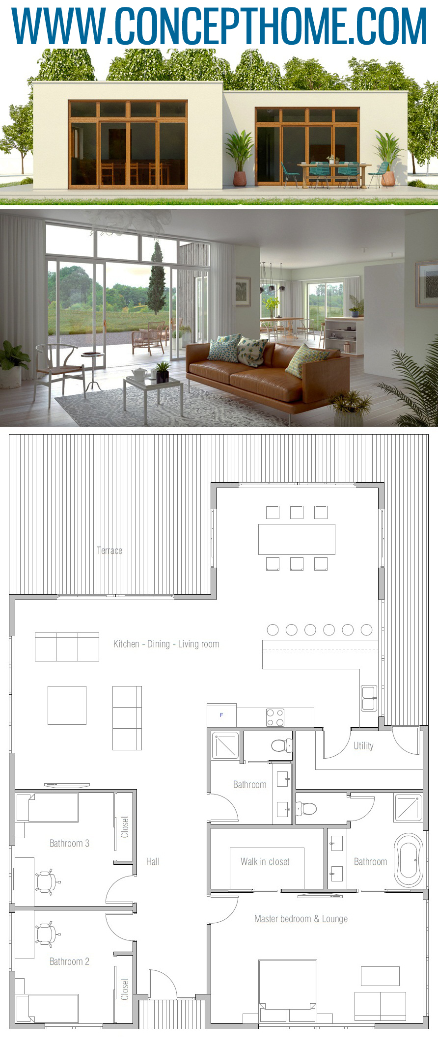 Home Plan Ch472 Minimalist House Design Modern Minimalist House House Floor Plans