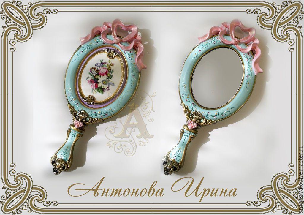 Купить или заказать Зеркало ручное-'Девица' в интернет-магазине на Ярмарке Мастеров. Зеркало ручное, маленькое. Прекрасно подойдет для девушки или девочки.Для фото-сессий или просто для интерьера.…