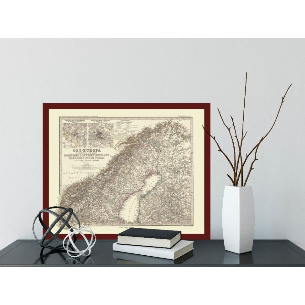 scandinavia kart Framed Amtique map of Scandinavia   Antik kart over Skandinavia  scandinavia kart