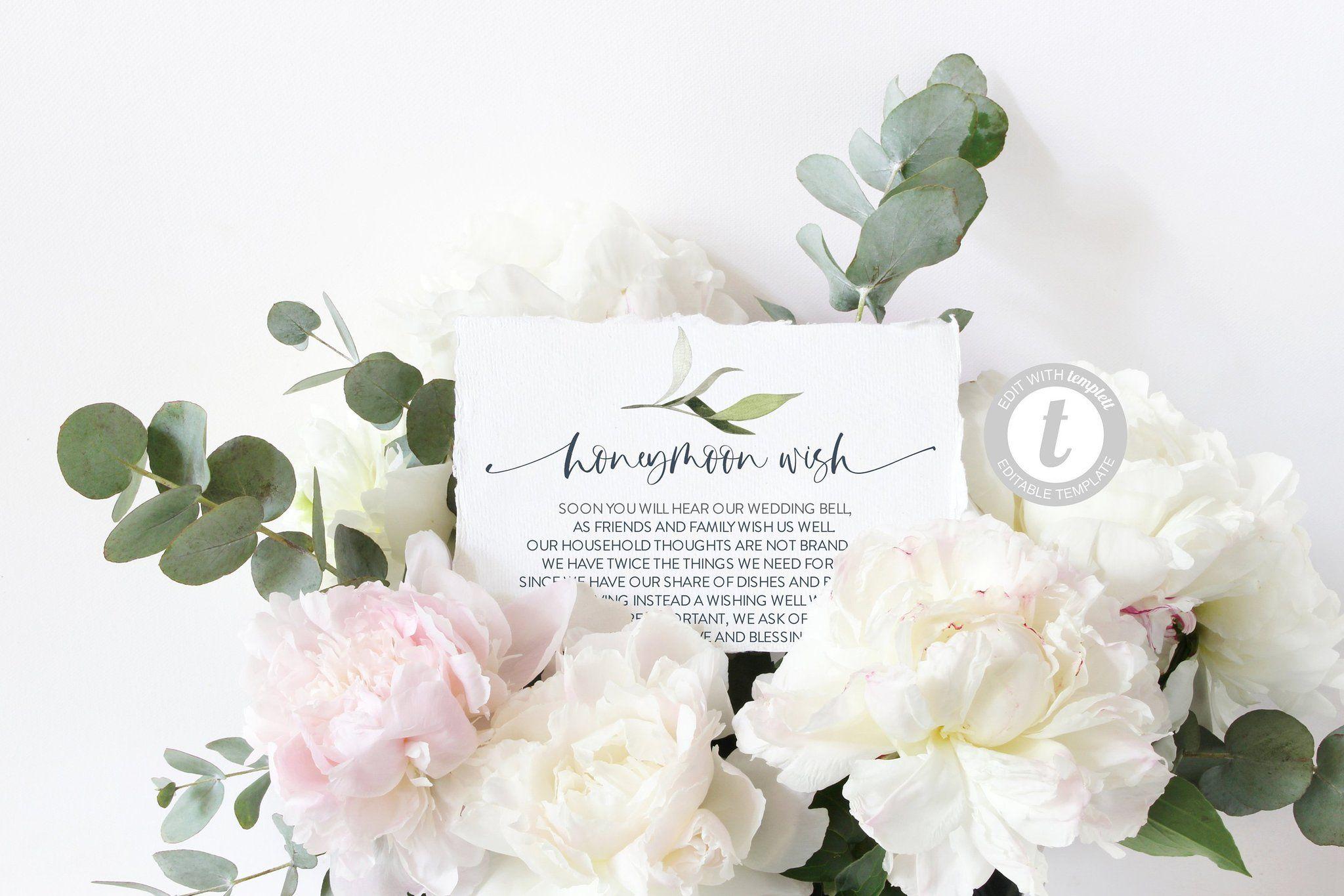 Honeymoon Wishing Well Card Template Honeymoon Wish Honeymoon Fund Wedding Info Card Wedding Details Card Wedding Cards