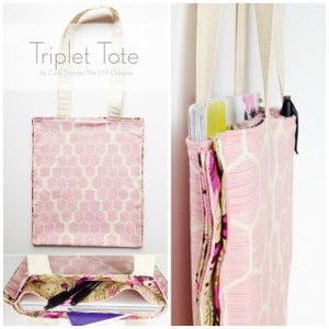 The Triplet Tote   AllFreeSewing.com -- If you carry a purse, you know the feeling of utter bewilderment when you cannot find the notebook you just put inside your bag. The Triplet Tote is a project that manages to create space for all of your necessities. Sew a bag that can separate your tablet, loose papers, and pens with two clever dividers. This DIY tote is an incredibly simple design to execute, but one you probably never thought of before.