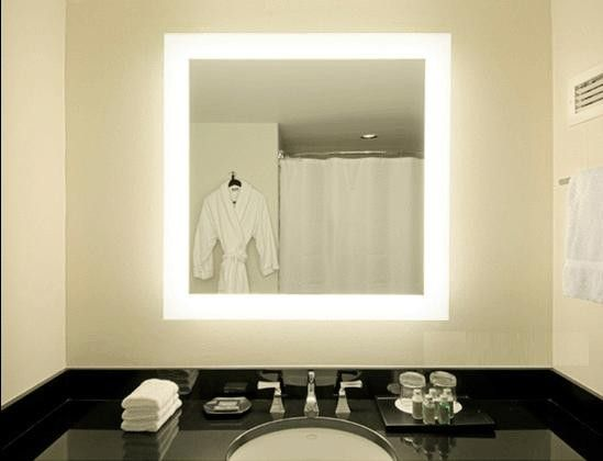 square vanity mirror with lights. backlit led mirror  Square LED Backlit Mirror with 4 sided Edge Lighting Strip