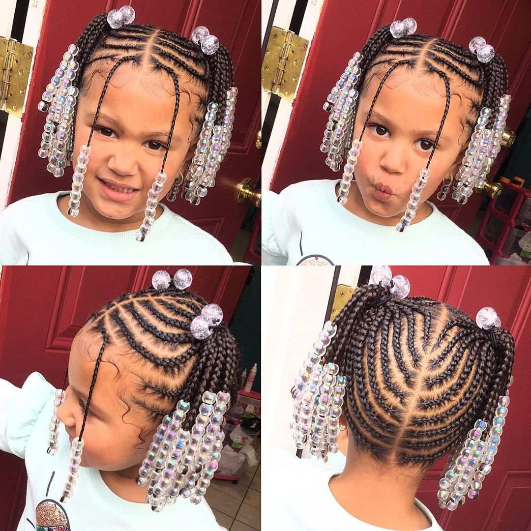 Tylica On Instagram She S So Cuteeee 2ponys No Weave Added Kids Hairstyles Hai In 2020 Kids Braided Hairstyles Kids Hairstyles Braided Mohawk Hairstyles