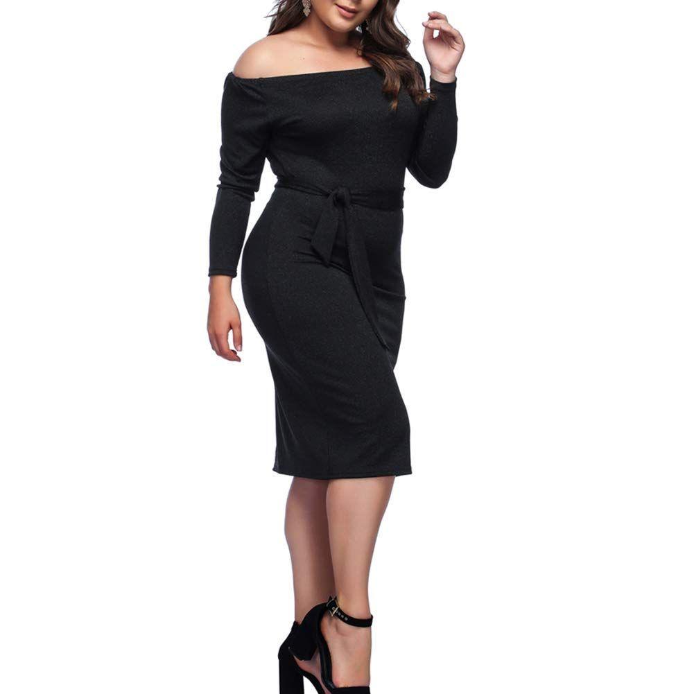 Hooyon Plus Size Dress Womens Off Shoulder Long Sleeve Shiny