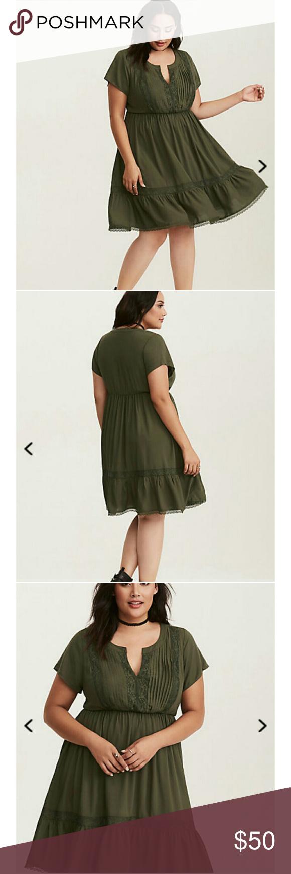 Lace dress torrid  Torrid Olive Green Dress NWT  Olive green dresses Casual fall and