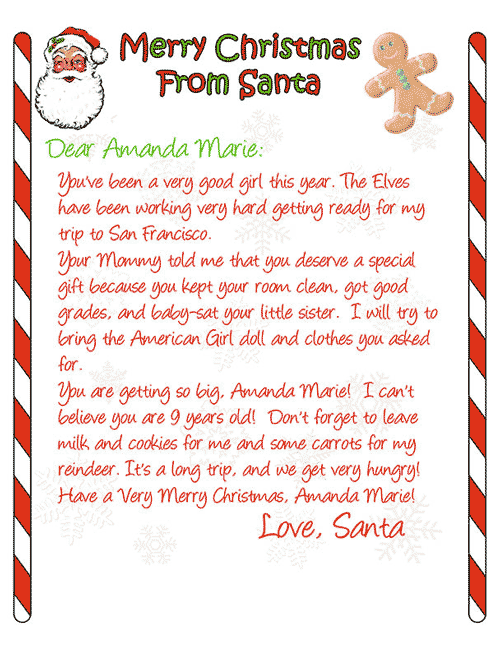 Create Free Letter From Santa    Letter From Santa Free