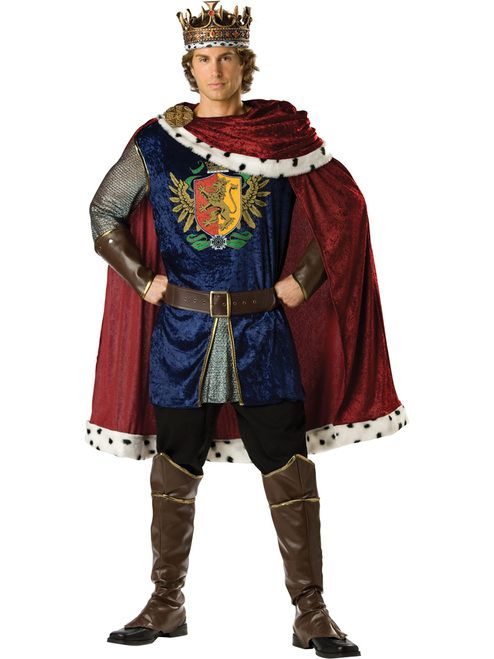 Mens Royal Storybook King Costume Prince Royalty Medieval Fancy Dress Outfit