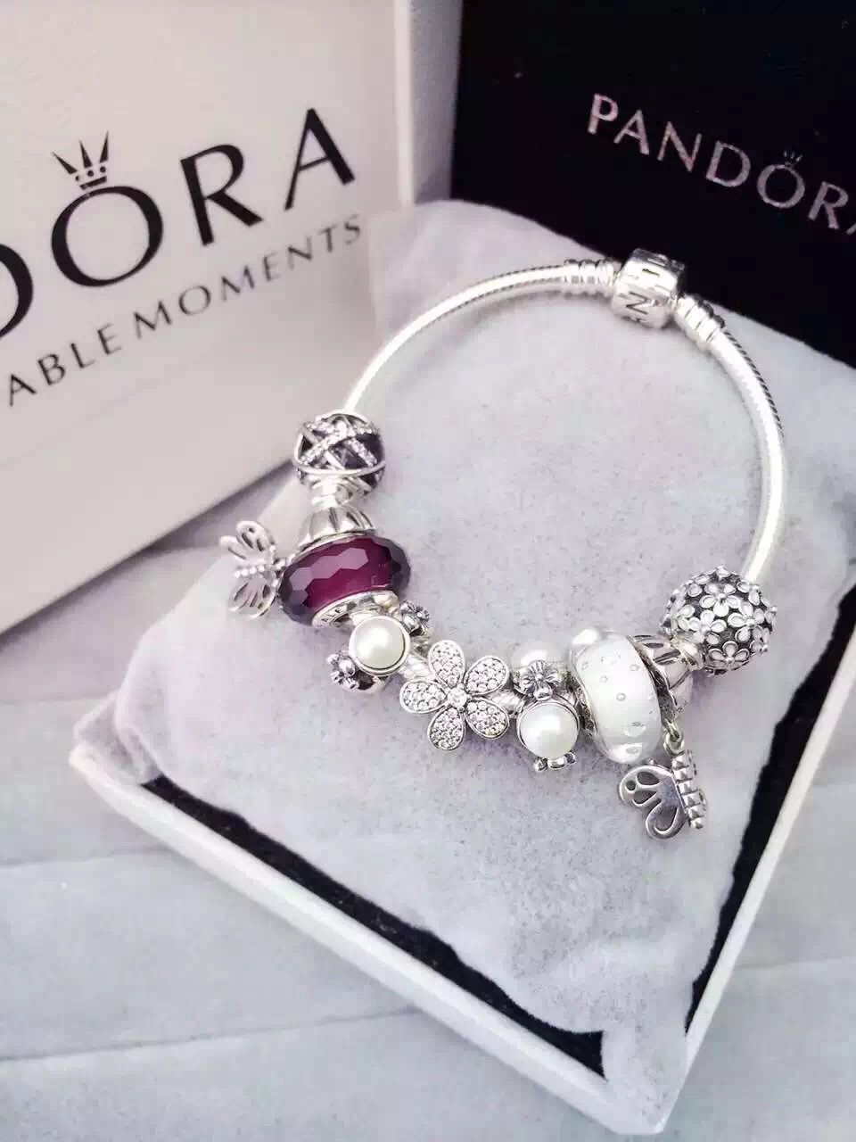 50 OFF 219 Pandora Charm Bracelet White Purple Hot Sale SKU