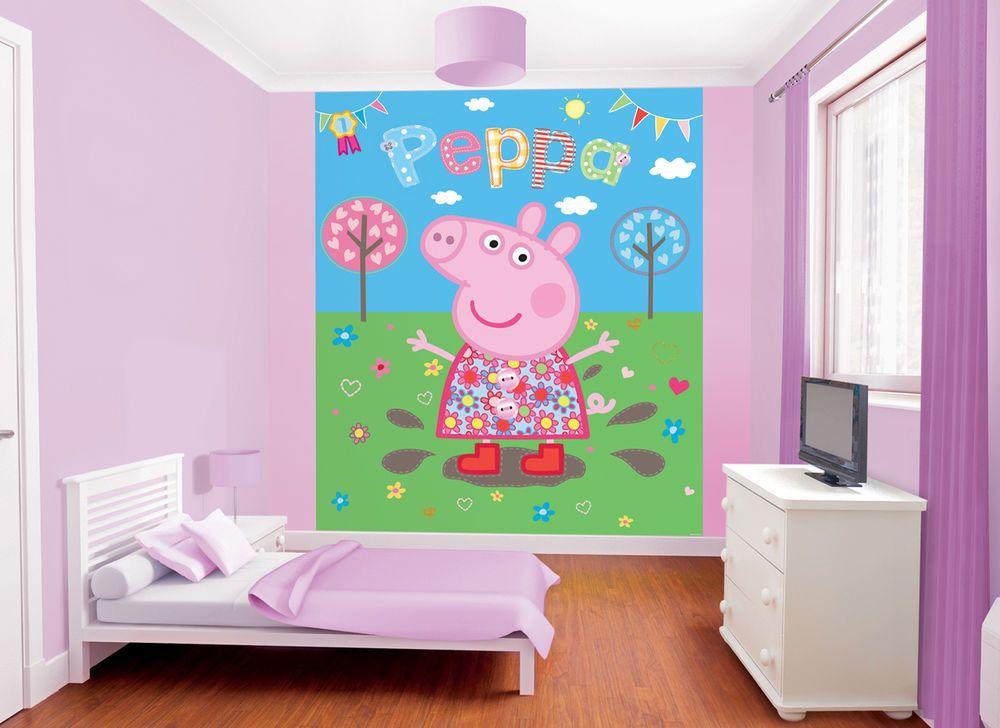 Child s Bedroom Walltastic Peppa Pig Muddy Puddles ...