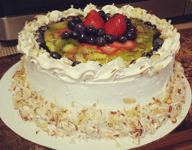 Baked Chinese Sponge Cake | Sponge cake with fresh fruits ...