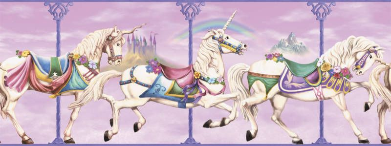 Details about Carousel Unicorns PrePasted Wall Border