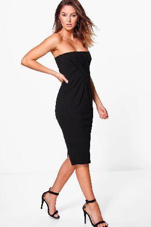 934d6dbd87f4 #boohoo Pleat Top Bandeau Midi Dress - black DZZ54480 #Sara Pleat Top  Bandeau Midi