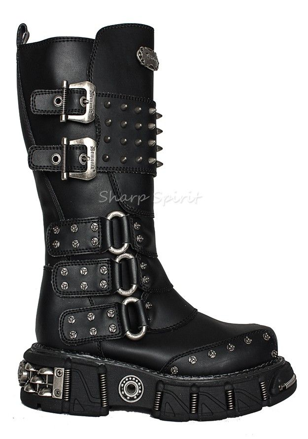 c9d6576e596 Mens Knee High Spiked Boots