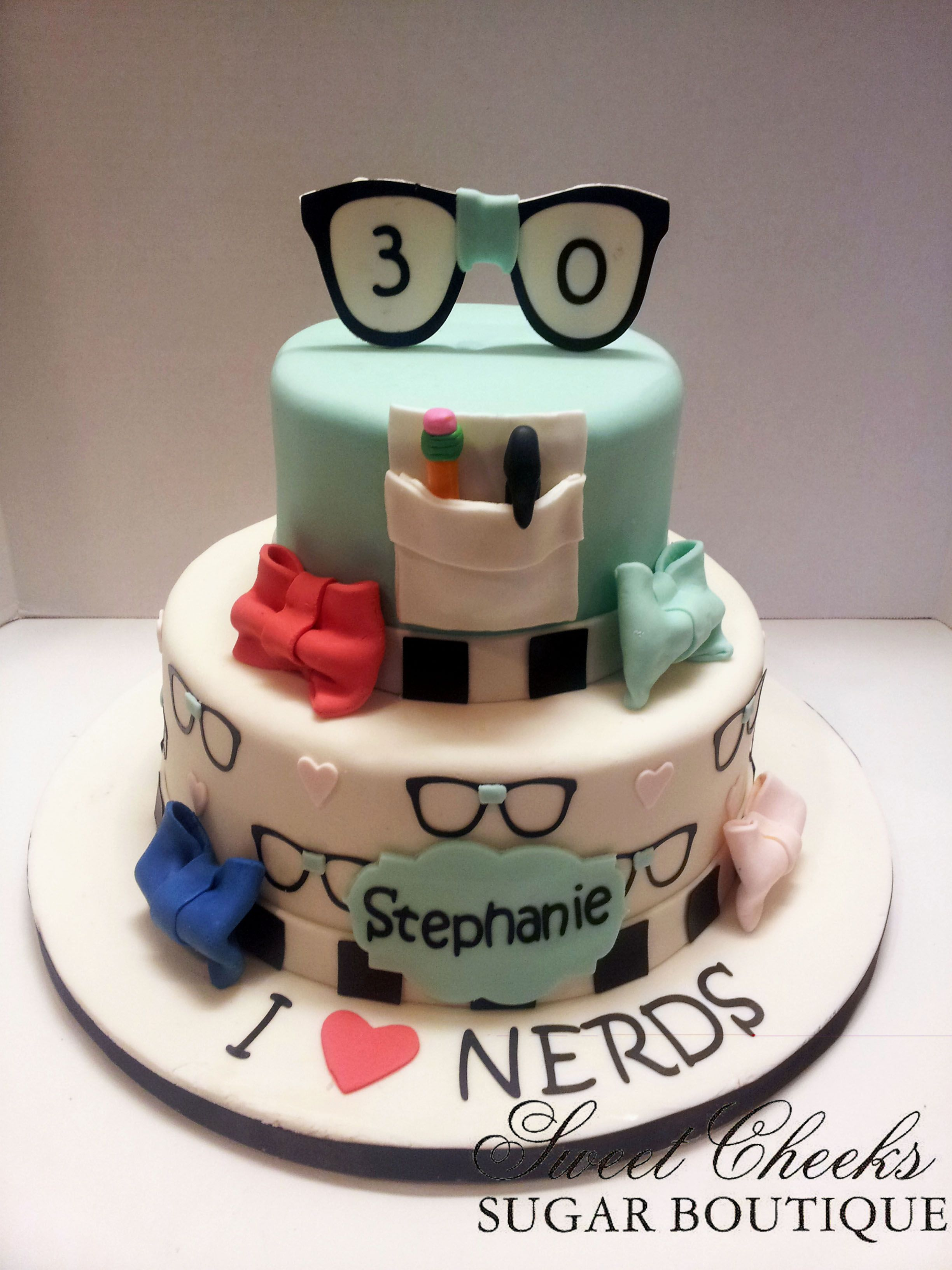 A Nerdy Thirty Themed Birthday Cake Sweet Cheeks Cakes