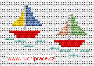 Boats, free cross stitch patterns and charts - www.free-cross-stitch.rucniprace.cz