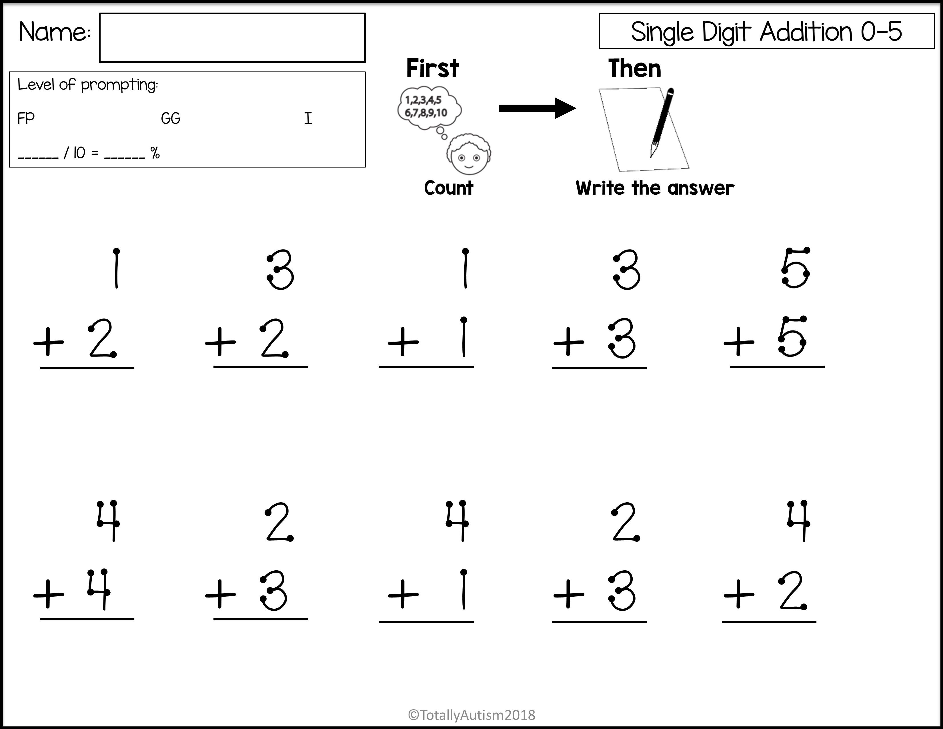 Touch Number Single Digit Addition In