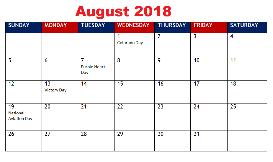 printable august 2018 calendar with holidays usa uk india australia and canada