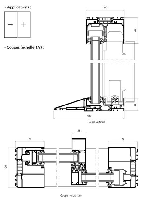 porte fen tre coulissante 1 vantail 1 fixe avec seuil pmr facade menuiseries d tails. Black Bedroom Furniture Sets. Home Design Ideas